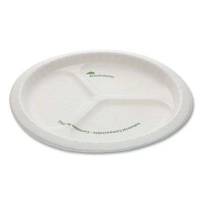 "Pactiv PSP103EC EarthChoice Pressware 10"" Bagasse Dinner Plate, 3 Compartment, Microwavable, Compostable, White - 250 / Case"