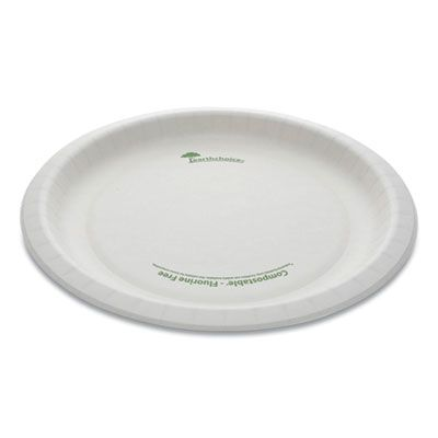 "Pactiv PSP10EC EarthChoice Pressware 10"" Bagasse Dinner Plate, Microwavable, Compostable, White - 300 / Case"