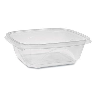 "Pactiv SAC0732 EarthChoice 32 oz Square Plastic Salad Bowl / Food Container, Recycled, No Lid, 7"" x 7"" x 2"", Clear - 300 / Case"