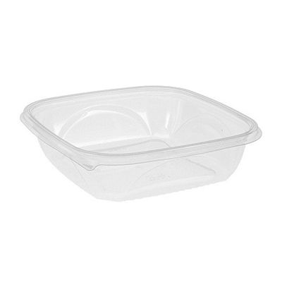 "Pactiv SAC0948 EarthChoice 48 oz Square Plastic Salad Bowl / Food Container, Recycled, No Lid, 9"" x 9"" x 2.25"", Clear - 150 / Case"