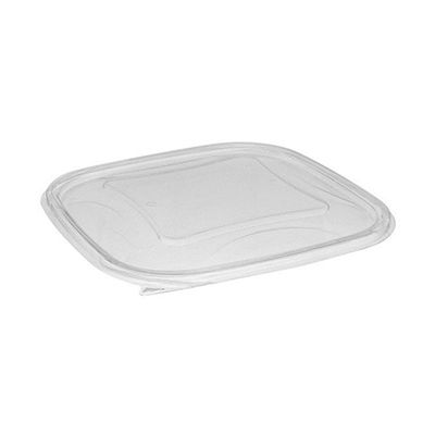 Pactiv SACLF09 Lids for EarthChoice 48 oz & 64 oz Square Salad Bowls / Food Containers, Recycled PET Plastic, Clear - 150 / Case