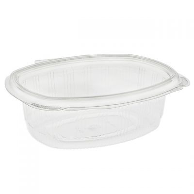 """Pactiv YCA910240000 EarthChoice 24 oz Plastic Hinged Lid Take Out Deli Container, Recycled PET, 7.38"""" x 5.88"""" x 2.38"""", Clear - 280 / Case"""
