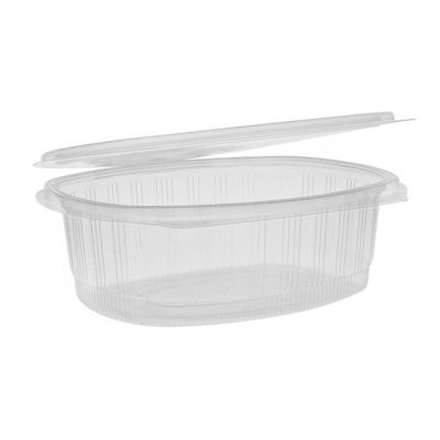 """Pactiv YCA910480000 EarthChoice 48 oz Plastic Hinged Lid Take Out Deli Container, Recycled PET, 8.875"""" x 7.25"""" x 2.938"""", Clear - 190 / Case"""
