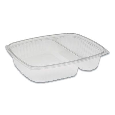 "Pactiv YCI854200000 Showcase Deli Container Base, 2 Compartment, 10 oz & 23 oz, 9"" x 7.4"" x 1.5"", OPS Plastic, Clear - 220 / Case"