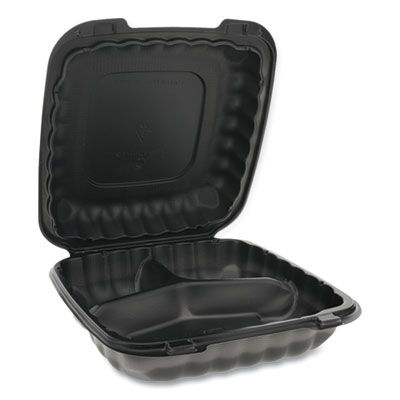 """Pactiv YCNB09030000 EarthChoice SmartLock Plastic Hinged Lid Containers, 3 Compartment, Microwavable, 9.33"""" x 8.88"""" x 3.1"""", Black - 120 / Case"""
