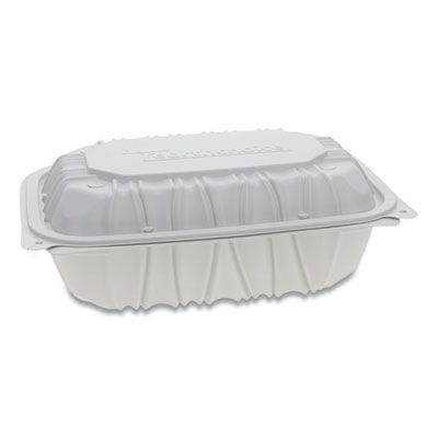 "Pactiv YCNW0205 EarthChoice Hinged Lid Plastic Food Containers, Vented, Microwavable, 9"" x 6"" x 3.1"", White - 170 / Case"
