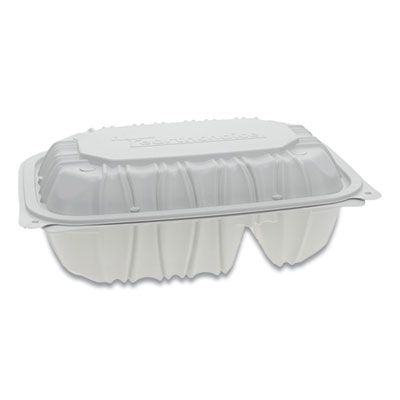 "Pactiv YCNW02052 EarthChoice Hinged Lid Plastic Food Containers, 2 Compartment, Vented, Microwavable, 9"" x 6"" x 3.1"", White - 170 / Case"