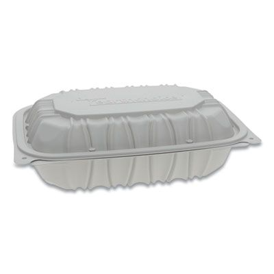 "Pactiv YCNW0207 EarthChoice Hinged Lid Plastic Food Containers, Vented, Microwavable, 9"" x 6"" x 2.75"", White - 170 / Case"