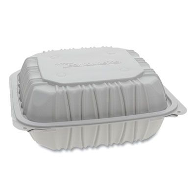 "Pactiv YCNW0851 EarthChoice Hinged Lid Plastic Food Containers, Vented, Microwavable, 8.5"" x 8.5"" x 3.1"", White - 146 / Case"