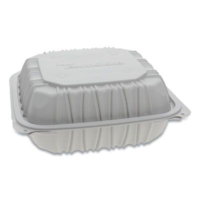 "Pactiv YCNW0853 EarthChoice Hinged Lid Plastic Food Containers, 3 Compartment, Vented, Microwavable, 8.5"" x 8.5"" x 3.1"", White - 146 / Case"