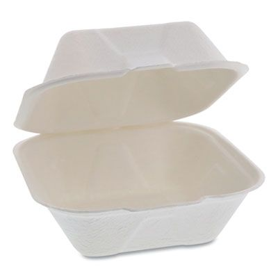 "Pactiv YMCH00800001 EarthChoice Bagasse Hinged Lid Sandwich Containers, 5.8"" x 5.8"" x 3.3"", Natural - 500 / Case"