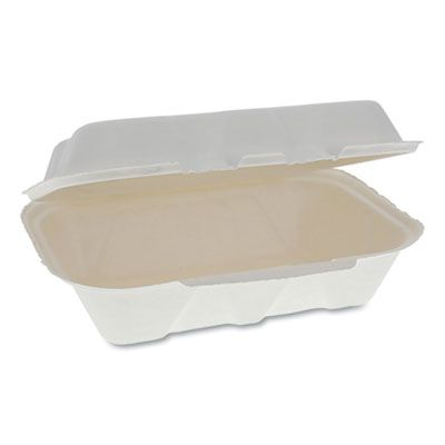 "Pactiv YMCH00890001 EarthChoice Bagasse Hinged Lid Takeout Container, 9.1"" x 6.1"" x 3.3"", Natural - 150 / Case"