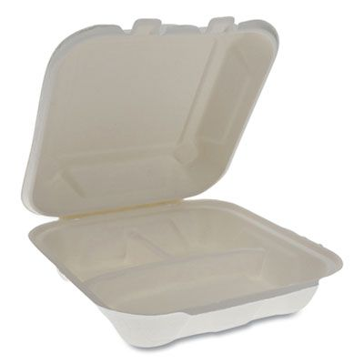 "Pactiv YMCH08030001 EarthChoice Bagasse Hinged Lid Takeout Container, 3 Compartment, 7.8"" x 7.8"" x 2.8"", Natural - 150 / Case"