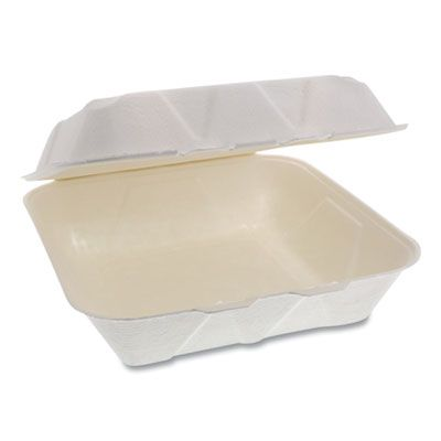 "Pactiv YMCH09010001 EarthChoice Bagasse Hinged Lid Takeout Container, 9"" x 9"" x 3.5"", Natural - 150 / Case"