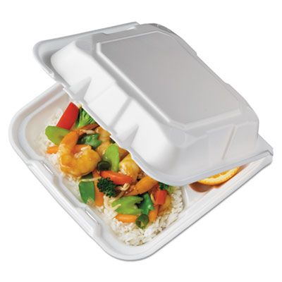 "Pactiv YTD18803 Foam Hinged Containers with 3 Sections, 8-1/8"" x 8-3/8"" x 3"", White - 150 / Case"