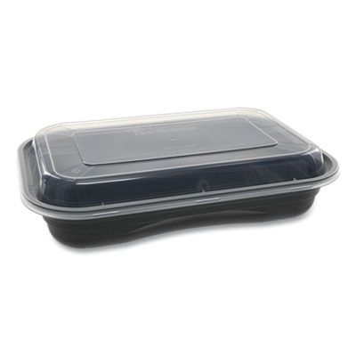 "Pactiv NV2GRT2786B EarthChoice Versa2Go Takeout Containers & Lids, Microwavable, 27 oz, 8.4"" x 5.6"" x 1.4"", Black / Clear - 150 / Case"
