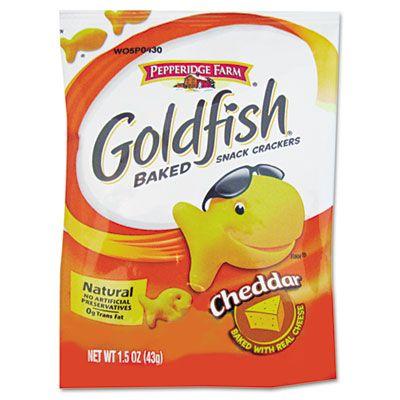 Pepperidge Farm 13539 Goldfish Crackers, Cheddar, Single-Serve Snack, 1.5 oz Bag - 72 / Case