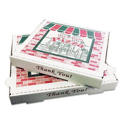 """General PZCORB10 Pizza Boxes, 10"""" x 10"""" x 1-3/4"""", White - 50 / Case"""