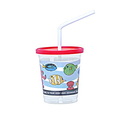 Fabri-Kal SC12C Plastic Kid Cups with Lids, Straws Combo Pack, Aquarium Fish - 250 / Case