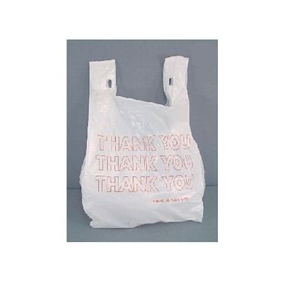 "T-Sacks 11-10417 Plastic T-Shirt 1/8 Size Thank You Bags, 10"" x 5"" x 18"", White - 1500 / Case"
