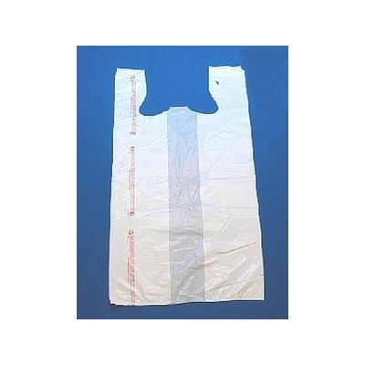 "T-Sacks 5666-4992 Plastic 1/5 Size T-Shirt Carryout Bags, 13"" x 10"" x 22"", White - 1000 / Case"
