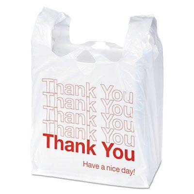 "Boardwalk TB1122 Plastic Thank You Bags, 14 Microns, 11.5"" x 6"" x 22"", White - 1000 / Case"