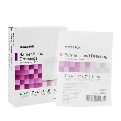 """McKesson 16-89166 Composite Barrier Island Dressing, Water Resistant, 6"""" x 6"""", Polypropylene / Rayon, Sterile - 25 / Case"""