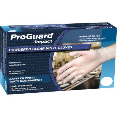 ProGuard 8606M Vinyl Gloves, Powdered, Medium, 4 mil, Clear - 1000 / Case