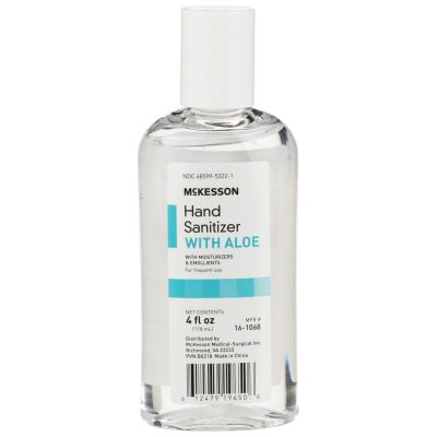 McKesson 16-1068 Hand Sanitizer Gel with Aloe, Ethyl Alcohol, 4 oz Bottle - 24 / Case