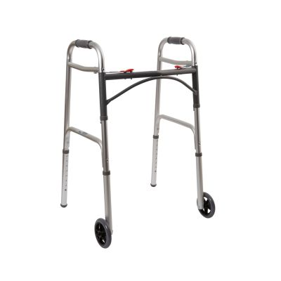 """McKesson 146-10210-4 Folding Walker w/ Aluminum Frame, 32"""" to 39"""" Adjustable Height, 350 lbs. Capacity - 4 / Case"""