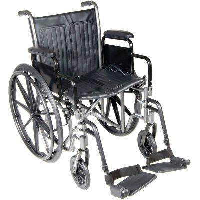 "McKesson 146-SSP218DDA-SF Wheelchair, Standard 16"" Back Height, Swing-Away Footrests, Black Upholstery, 18"" Seat Width, 300 lbs Capacity - 1 / Case"