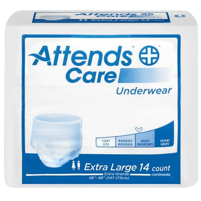 """Attends APV40 Care Absorbent Underwear, Adult Unisex, X-Large (58 to 68""""), Moderate Absorbency - 56 / Case"""