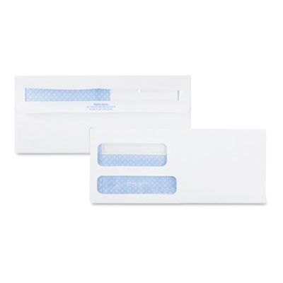 "Quality Pak 24529 Double Window Envelope, Redi-Seal, Security-Tinted, Commercial Flap, 3.88"" x 8.88"", White - 500 / Case"