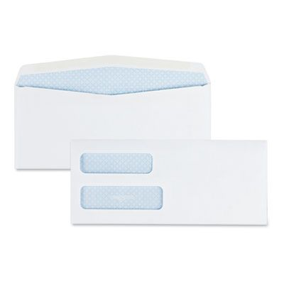 "Quality Park 24550 Double Window Check Envelope, #10, Security Tint, Commercial Flap, Gummed Closure, 4.13"" x 9.5"", White - 500 / Case"