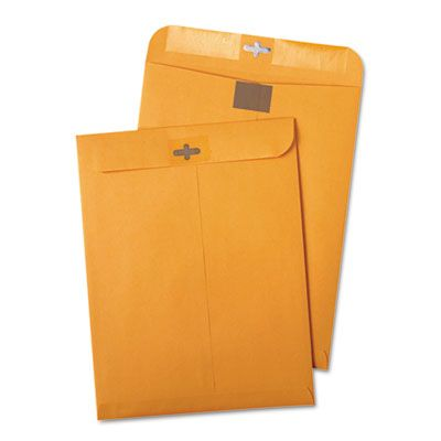 "Quality Park 43568 Redi-Tac ClearClasp Envelope, #90, Cheese Blade Flap, 9"" x 12"", Golden Brown - 100 / Case"