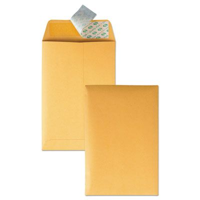 "Quality Park 44162 Redi-Strip Catalog Envelope, #1, Cheese Blade Flap, 6"" x 9"", Golden Brown - 100 / Case"
