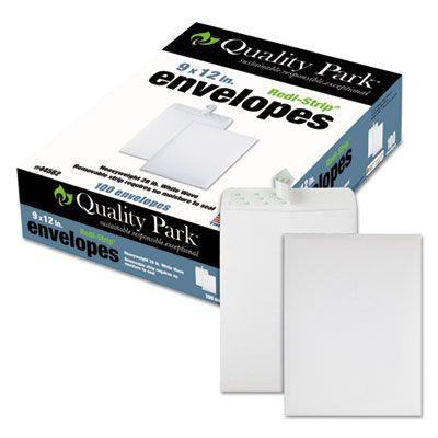 "Quality Park 44582 Redi-Strip Catalog Envelope, #10-1/2, Cheese Blade Flap, 9"" x 12"", White - 100 / Case"