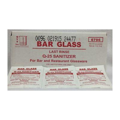 Bar Glass Last Rinse Q-25 Sanitizer, 0.5 oz Pouch - 100 / Case