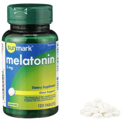 McKesson 01093989544  sunmark Natural Sleep Aid, 3 mg Strength Melatonin Supplement Tablet - 120 / Case