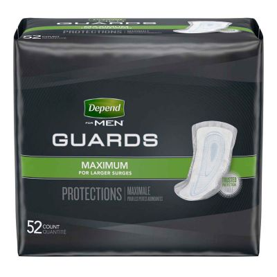 """Kimberly-Clark 13792 Depend Guards for Men, 12"""" Bladder Control Pad, Heavy Absorbency - 52 / Case"""