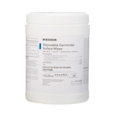 """McKesson 50-66160 Disposable Germicidal Surface Disinfectant Alcohol Wipes, Premoistened, 6"""" x 6.75""""  - 1920 / Case"""