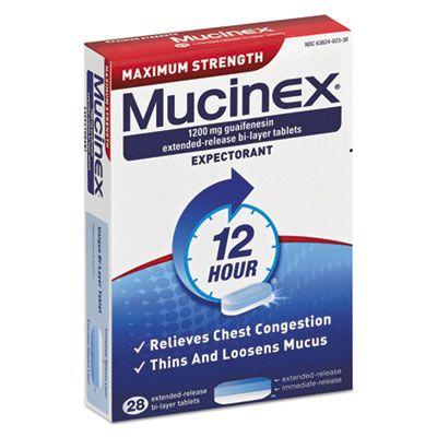 Reckitt Benckiser 2328 Mucinex Maximum Strength Expectorant, 28 1200-mg Tablets / Box - 24 / Case