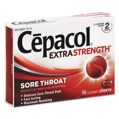 Reckitt Benckiser 71016 Cepacol Extra Strength Sore Throat Lozenges, 16 / Box, Cherry Flavor - 24 / Case