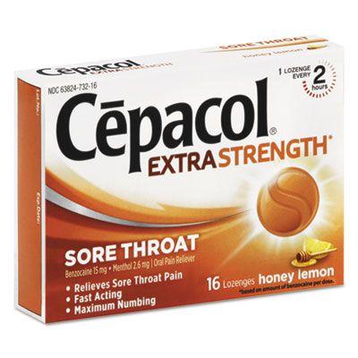 Reckitt Benckiser 73016 Cepacol Extra Strength Sore Throat Lozenges, 16 / Box, Honey Lemon Flavor - 24 / Case