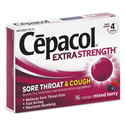 Reckitt Benckier 74016 Cepacol Extra Strength Sore Throat & Cough Lozenges, 16 / Pack, Mixed Berry Flavor - 24 / Case