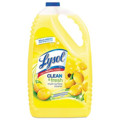 Reckitt Benckiser 77617 Lysol Clean & Fresh Multi-Surface Disinfectant Cleaner, Lemon Scent, 144 oz Bottle - 4 / Case