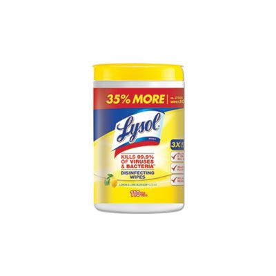 "Reckitt Benckiser 78849 Lysol Disinfecting Wipes, Lemon & Lime Blossom Scent, 7"" x 8"", 110 Wipes / Tub - 6 / Case"