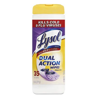 "Reckitt Benckiser 81143 Lysol Dual Action Disinfecting Wipes, 7"" x 8"", Citrus Scent, 35 / Canister - 12 / Case"