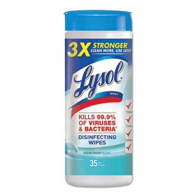 "Reckitt Benckiser 81146 Lysol Disinfecting Wipes, 7"" x 8"", Ocean Fresh Scent, 35 / Tub - 12 / Case"