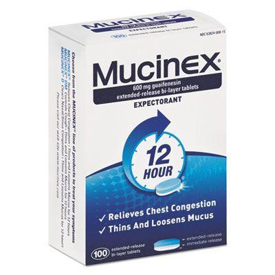 Reckitt Benckiser 815 Mucinex Expectorant, 12-Hour, 100 600-mg Tablets / Box - 12 / Case
